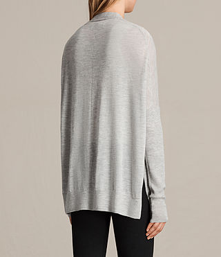 Womens Lotus Cashmere Cardigan (Light Grey Marl) - product_image_alt_text_3