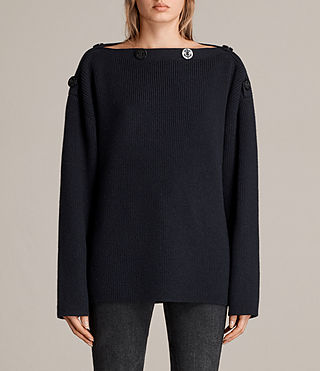Womens Faye Slash Neck Sweater (Ink Blue) - Image 1