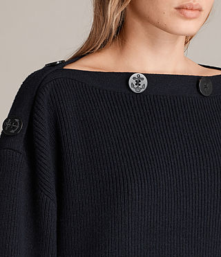 Womens Faye Slash Neck Sweater (Ink Blue) - Image 2