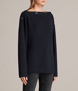 Womens Faye Slash Neck Sweater (Ink Blue) - Image 3