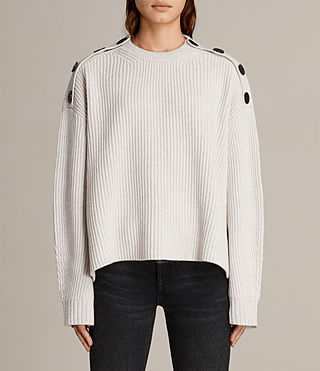 Women's Faye Crew Neck Jumper (PORCELAIN WHITE) - Image 1