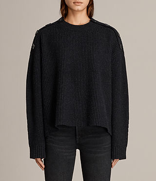 Womens Faye Crew Neck Sweater (Cinder Black Marl) - Image 1