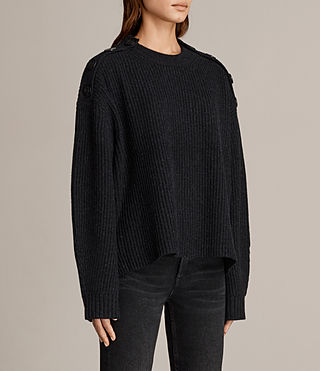 Womens Faye Crew Neck Sweater (Cinder Black Marl) - Image 3
