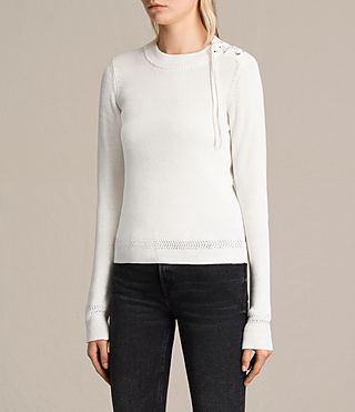Women's Gilli Laced Jumper (IVORY WHITE) - product_image_alt_text_3