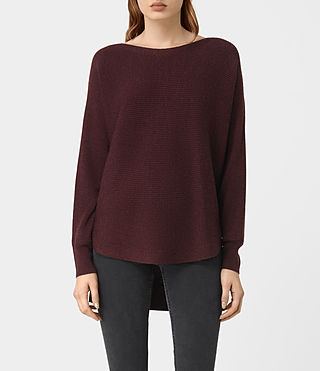 Womens Esia Merino Sweater (DAMSON RED MARL) - product_image_alt_text_1