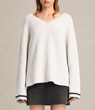 Womens Daria V-Neck Sweater (PORCELAIN/CINDER)