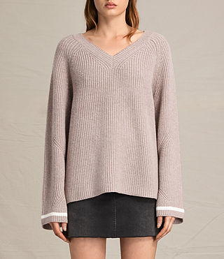 Mujer Daria V-neck Sweater (QUARTZ PINK/CREAM)