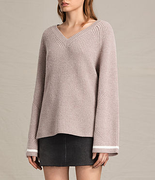 Women's Daria V-Neck Jumper (QUARTZ PINK/CREAM) - product_image_alt_text_3