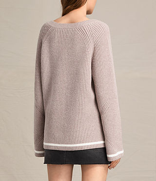 Women's Daria V-Neck Jumper (QUARTZ PINK/CREAM) - product_image_alt_text_4