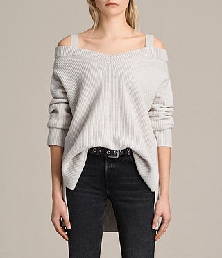 Damen Dasha V-Neck Jumper (PORCELAIN WHITE)