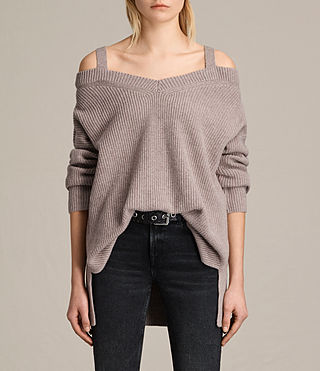 Damen Dasha V-Neck Jumper (QUARTZ PINK MARL)