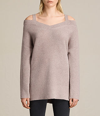 Damen Dasha V-Neck Jumper (QUARTZ PINK MARL) - product_image_alt_text_4