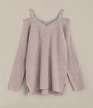 Damen Dasha V-Neck Jumper (QUARTZ PINK MARL) - product_image_alt_text_6