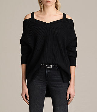 Women's Dasha V-Neck Jumper (Black) -