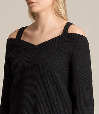 Women's Dasha V-Neck Jumper (Black) - product_image_alt_text_2