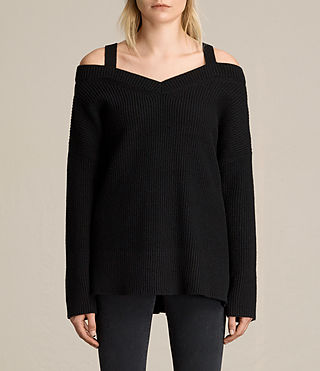 Women's Dasha V-Neck Jumper (Black) - product_image_alt_text_4