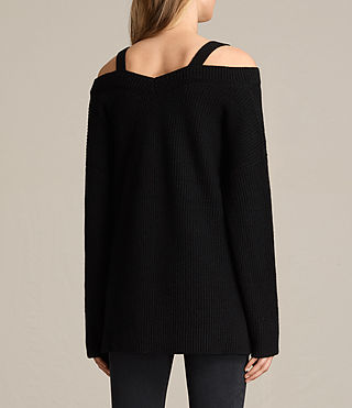 Women's Dasha V-Neck Jumper (Black) - product_image_alt_text_5