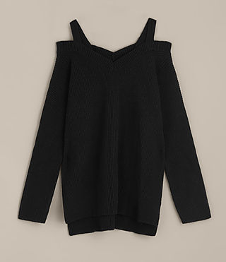 Women's Dasha V-Neck Jumper (Black) - product_image_alt_text_6