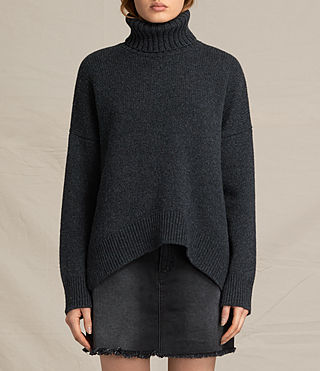 Womens Veda Roll Neck Jumper (Charcoal/Grey Marl) - product_image_alt_text_1