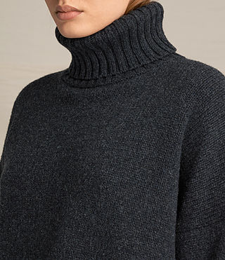 Womens Veda Roll Neck Jumper (Charcoal/Grey Marl) - product_image_alt_text_2