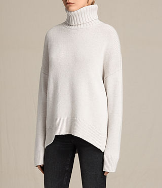 Women's Veda Roll Neck Jumper (PORCELAIN WHITE) - product_image_alt_text_3