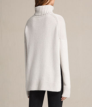 Women's Veda Roll Neck Jumper (PORCELAIN WHITE) - product_image_alt_text_4