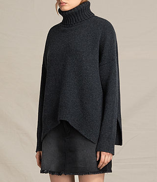 Womens Veda Roll Neck Sweater (CHARCOAL GREY MARL) - product_image_alt_text_3