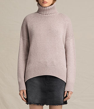 Womens Veda Roll Neck Sweater (QUARTZ PINK MARL)