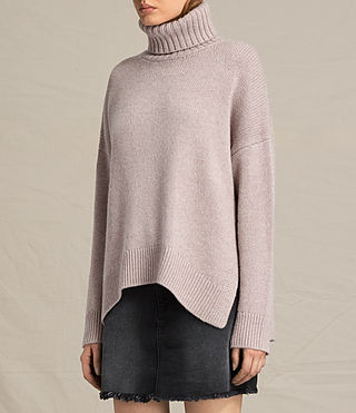 Womens Veda Roll Neck Sweater (QUARTZ PINK MARL) - product_image_alt_text_3