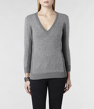 Womens Jairdan V-neck Sweater (Grey Marl) - product_image_alt_text_1