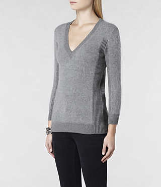 Womens Jairdan V-neck Sweater (Grey Marl) - product_image_alt_text_2