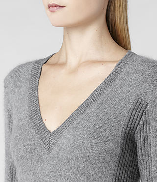 Womens Jairdan V-neck Sweater (Grey Marl) - product_image_alt_text_4