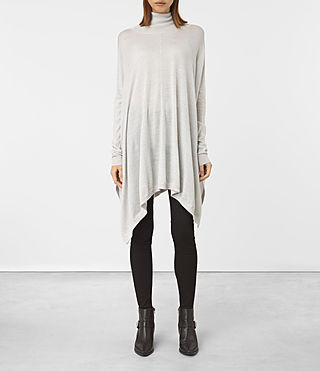 Womens Benton Cape Sweater (Stone Grey) - product_image_alt_text_1