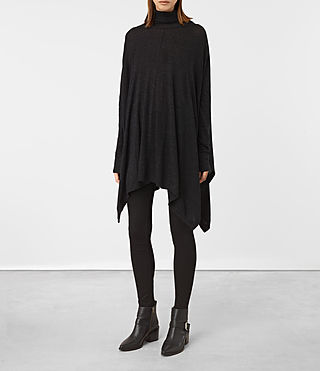 Womens Benton Cape Sweater (Cinder Black Marl)