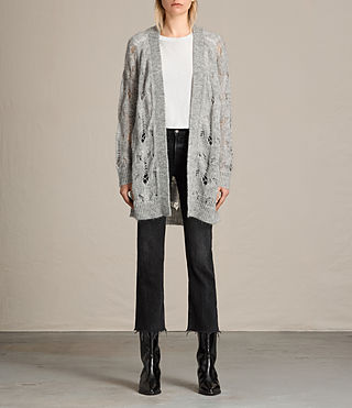 Womens Kisa Cardigan (Light Grey Marl)