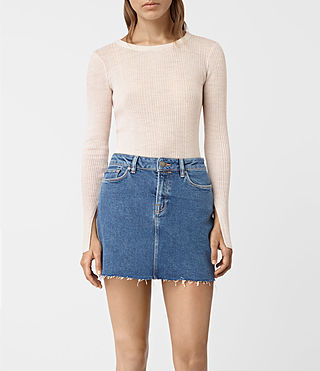 Women's Vanto Crew Neck Top (ALMOND PINK MARL)