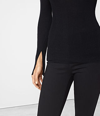 Women's Vanto Crew Neck Top (Black) - product_image_alt_text_2