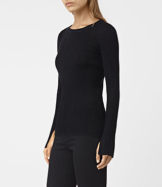 Women's Vanto Crew Neck Top (Black) - product_image_alt_text_3