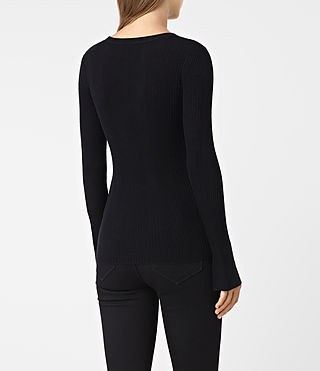 Women's Vanto Crew Neck Top (Black) - product_image_alt_text_5