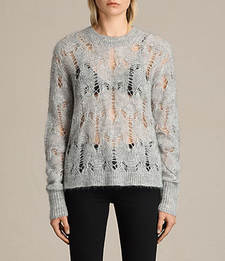 Mujer Kisa Cropped Jumper (Light Grey Marl)