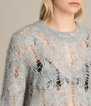 Mujer Kisa Cropped Jumper (Light Grey Marl) - product_image_alt_text_2