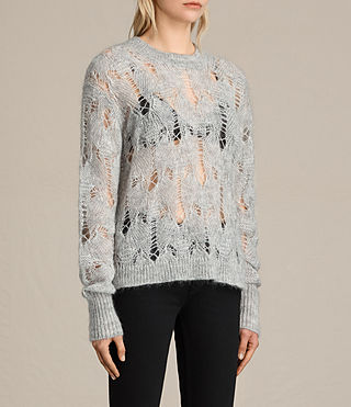 Mujer Kisa Cropped Jumper (Light Grey Marl) - product_image_alt_text_3
