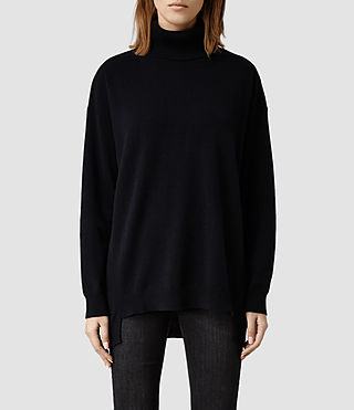 Womens Dana Cashmere Funnel Neck (Ink)