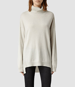 Womens Dana Cashmere Funnel Neck (Chalk)