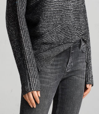 Womens Mesa Roll Neck Sweater (BLACK/CHALK) - Image 2