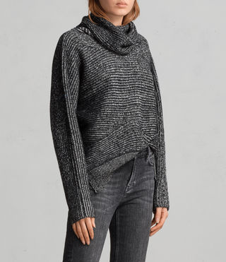 Womens Mesa Roll Neck Sweater (BLACK/CHALK) - Image 3