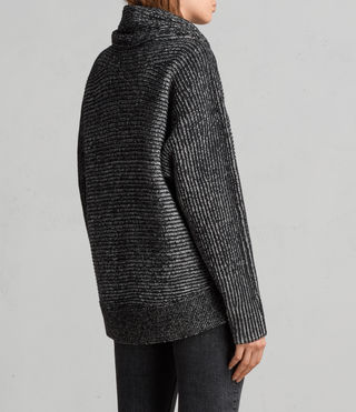 Womens Mesa Roll Neck Sweater (BLACK/CHALK) - Image 4