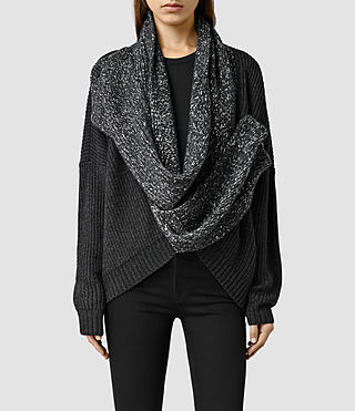 Womens Helm Wrap Cardigan (Cinder Black Marl)