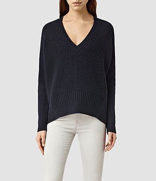 Womens Galo V Neck Sweater (Ink Blue)