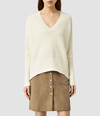 Womens Galo V Neck Sweater (CLOUD WHITE)
